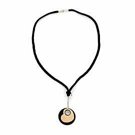 Chopard Happy Diamond 18k Gold Diamond Onyx Hearts Dangle Pendant Cord Necklace
