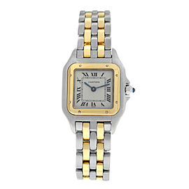 Ladies Cartier Panthere 1120 Steel 18K Yellow Gold Two Row 22MM Quartz Watch