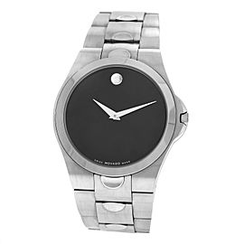 Men's Movado Luno 84 E7 1850 Steel Black Dial Quartz 38MM Watch