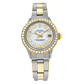 Ladies Rolex Oyster Perpetual Date 6517 Steel & Gold Diamond MOP 26MM Watch