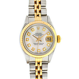 Rolex 69173 Two Tone Mother of Pearl Diamond Dial Ladies Watch