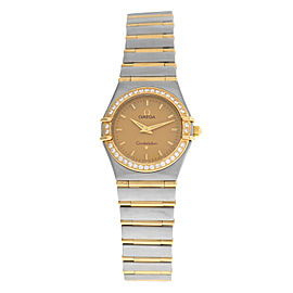 Ladies Omega Constellation 1277.10 Full Bar 18K Gold 25MM Diamond Quartz Watch