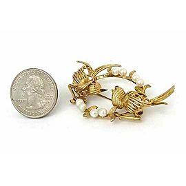 Vintage 14k Yellow Gold Pearl & Ruby Two Bird Fancy Brooch Pin