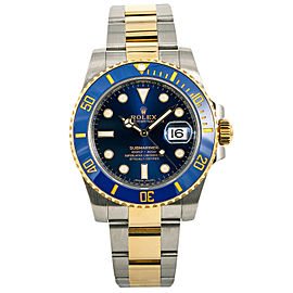 Rolex Submariner 116613 Ceramic Blue Automatic Watch 18k Two Tone W/Papers 40mm