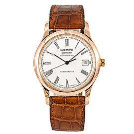 Wempe Zeitmeister Glashutte Mens Quartz Watch Stainless Rose Gold Plated 38mm