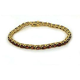 "Vintage Oval Garnet 14k Yellow Gold Tennis Bracelet 7.25"" Long"