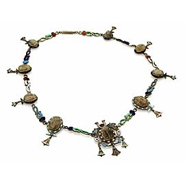 Antique Multi Wood & Enamel Scarabs Snake Silver Necklac