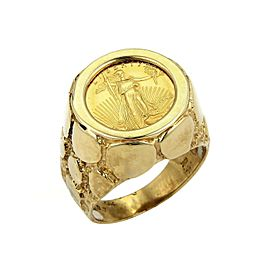 22k Saint Gaudens Eagle Coin in 10k Yellow Gold Nugget Ring