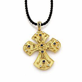 Byzantine Diamond & Sapphire 18k Gold Cross Necklace on Cord