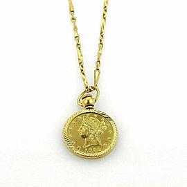 21K Gold Modern Flower Prize Jewelry Coin & 21k Fancy Necklace