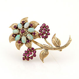 Opal & Ruby Flower 18k Yellow Gold Brooch Pin