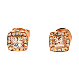 14k Rose Gold Morganite Square Stud Earrings Approx. 0.16 TCW