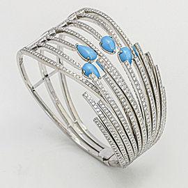 Larrry Jewelry 5.00 Carat 18k Gold Diamond Turquoise Hinged Bangle Bracelet