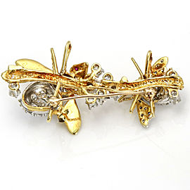 5.00 Carat 18k Gold Platinum Diamond Bees Brooch