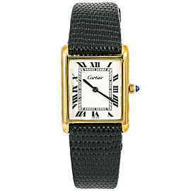 Cartier Vintage Electroplated Women Watch Mechanical Hand Wind 18K YG 22mm