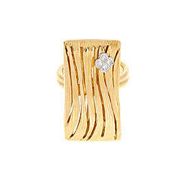 Roberto Coin Elephantino Diamond 18k Two Tone Gold Rectangular Ring Size 7