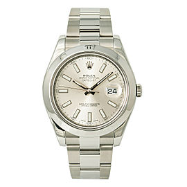 Rolex Datejust II Oyster 116300 Mens Automatic Watch Silver Stick Dial 41mm