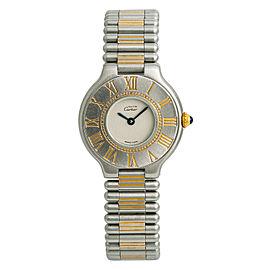 Cartier Must De 21 9010 Womens Quartz Watch Cream Dial Two Tone SS 28mm