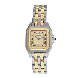 Ladies Cartier Panthere Steel 18K Yellow Gold Two Row 22MM Quartz Watch