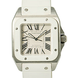 Cartier Santos 100 2878 W20122U2 W/B&P Women Automatic Watch White Rubber 33mm