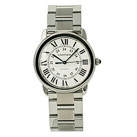 Cartier Ronde Solo 3939 WSRN0012 Mens Automatic Watch Silver Dial SS 36mm