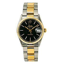 Tudor Prince 91513 Men Quartz Watch Stainless Steel Gold Plated Black Dial 34mm