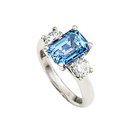 Platinum GIA 4.31Ct Sapphire 0.80Ct Diamond Engagement RITANI Victorian Ring