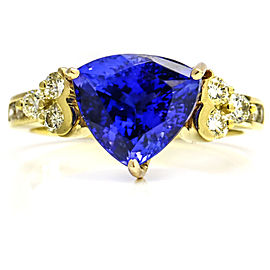 3.40 Carat 18k Yellow Gold Diamond Trillion Tanzanite Ring