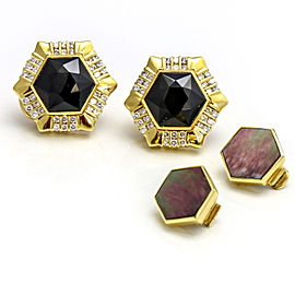 Gemlok 18k Gold Black Onyx Mother of Pearl Exchangeable Gemstone Stud Earrings