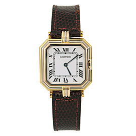 Cartier Paris Sextavado 78099 Women Quartz Watch 18K Tri-color White Dial 27m...