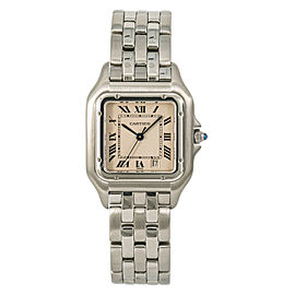 Cartier Panthere 1310 Women Quartz Watch Stainless Steel Off-White Dial 27mm
