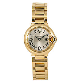 Cartier Ballon Bleu 3006 W69001Z2 Womens Quartz Watch Silver Dial 18K Gold 28mm