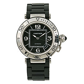 Cartier Pasha Seatimer 2790 W3107702 Mens Automatic SS Rubber Coated Watch 40mm