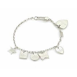 Gucci Sterling Silver 6 Dangle Charms Chain Bracelet