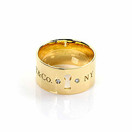 Tiffany & Co. Diamond 18k Yellow Gold Key Hole Wide Band Ring