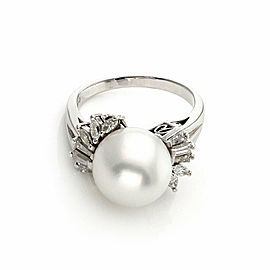 Mikimoto Diamond 11.7mm Pearl Platinum Cocktail Ring Size 7