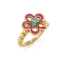 Tous Topaz & Enamel 18k Yellow Gold Flower & Bee Ring