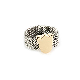 Tous 18k Gold & Stainless Tulip Charm Mesh Flex Band Ring Size 6