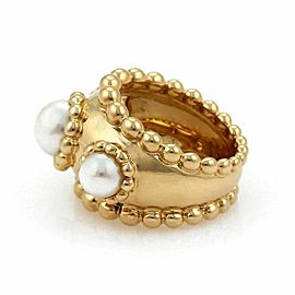 Chanel Pearls 18k Yellow Gold Wide Beaded Dome Band Ring