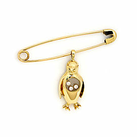 Chopped Happy Diamond 18k Yellow Gold Dangle Penguin Charm Safety Pin Brooch