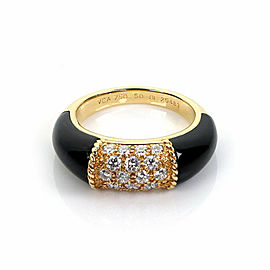 Van Cleef & Arpels Philippine Diamond Onyx 18k Yellow Gold Ring Size 50