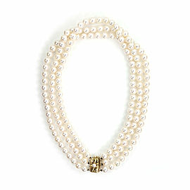 Mikimoto Akoya Pearls Triple Strand Necklace 18k Yellow Gold Floral Clasp