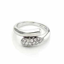 Bulgari Diamond 18k White Gold Bypass Band Ring