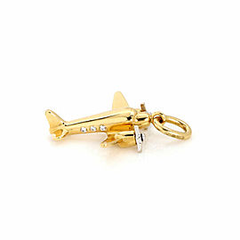 Tiffany & Co. Diamond 18k Two Tone Gold Airplane Charm Pendant