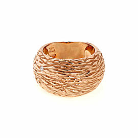 Roberto Coin Diamond 18k Rose Gold Textured Dome Band Ring Size 6.75