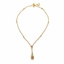 Roberto Coin Mauresque Diamond 18k Rose Gold Long Tear Drop Pendant Necklace