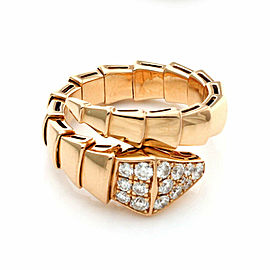 Bvlgari Serpenti Diamond 18k Rose Gold Bypass Flex Band Ring Size 7