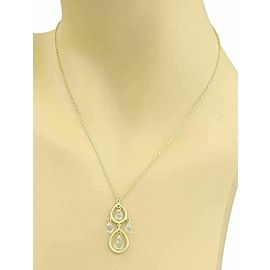 Tiffany & Co. Aquamarine 18k Gold 2 Tear Drop Pendant Necklace