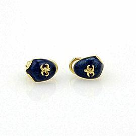 Hidalgo 18k Yellow Gold Guilloche Enamel Fleur de Lis Clip On Earrings