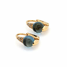 Pomellato M'ama Non M'ama Diamond Blue Topaz 18k Rose Gold Huggie Earrings